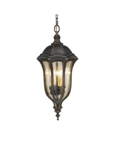 Feiss Baton Rouge 4 Light Duo-Mount Outdoor Chain Lantern In Warm Walnut Finish