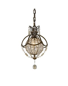 Feiss Bellini 1 Light Crystal Mini Pendant  In An Oxidised Bronze Finish