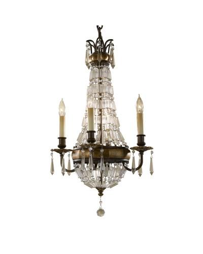 Feiss Bellini 4 Light Crystal Chandelier In An Oxidised Bronze Finish