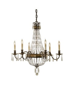Feiss Bellini 6 Light Crystal Chandelier In An Oxidised Bronze Finish