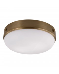 Feiss Cadence 2 Light Flush Mounted Ceiling Light In Dark Antique Brass Finish