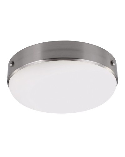Feiss Cadence 2 Light Flush Mounted Ceiling Light In Polished Nickel/Brushed Steel Finish