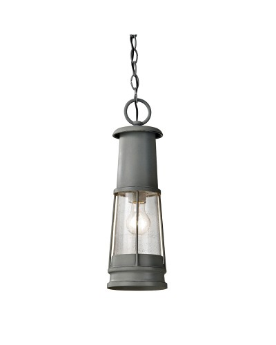 Feiss Chelsea Harbor 1 Light Outdoor Chain Lantern In Storm Cloud Grey Finish