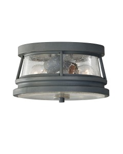 Feiss Chelsea Harbor 2 Light Outdoor Flush Ceiling Light In Storm Cloud Grey Finish