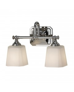 Feiss Concord 2 Light Above Mirror Bathroom Wall Light In Polished Chrome Finish With Opal Glass Shades (IP44)