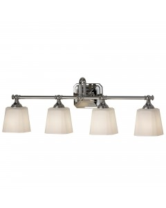 Feiss Concord 4 Light Above Mirror Bathroom Wall Light In Polished Chrome Finish With Opal Glass Shades (IP44)