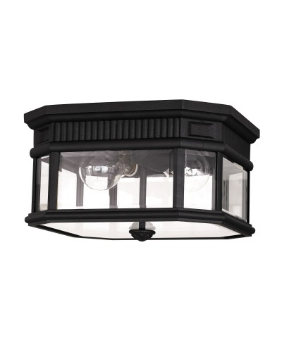 Feiss Cotswold Lane 2 Light Outdoor Flush Ceiling Mount In Black Finish