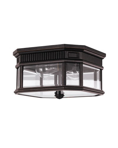 Feiss Cotswold Lane 2 Light Outdoor Flush Ceiling Mount In Grecian Bronze Finish