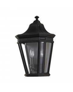 Feiss Cotswold Lane 2 Light Outdoor Half Wall Lantern In Black Finish
