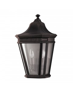 Feiss Cotswold Lane 2 Light Outdoor Half Wall Lantern In Grecian Bronze Finish