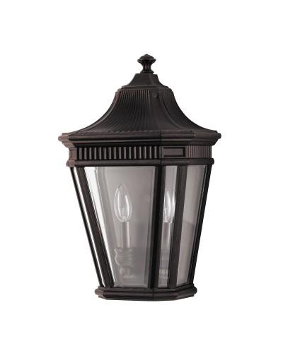 Feiss Cotswold Lane 2 Light Outdoor Half Wall Lantern In Grecian Bronze Finish