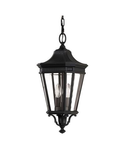 Feiss Cotswold Lane 2 Light Outdoor Medium Chain Lantern In Black Finish
