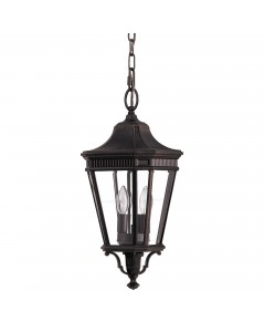 Feiss Cotswold Lane 2 Light Outdoor Medium Chain Lantern In Grecian Bronze Finish