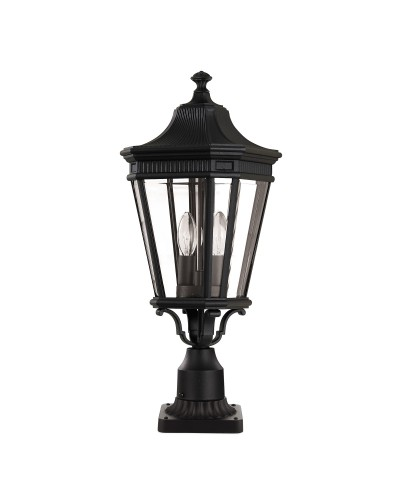 Feiss Cotswold Lane 2 Light Outdoor Medium Pedestal In Black Finish