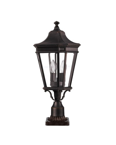Feiss Cotswold Lane 2 Light Outdoor Medium Pedestal In Grecian Bronze Finish