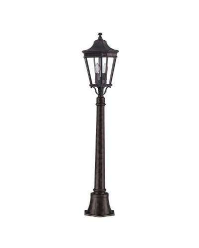 Feiss Cotswold Lane 2 Light Outdoor Medium Pillar In Grecian Bronze Finish