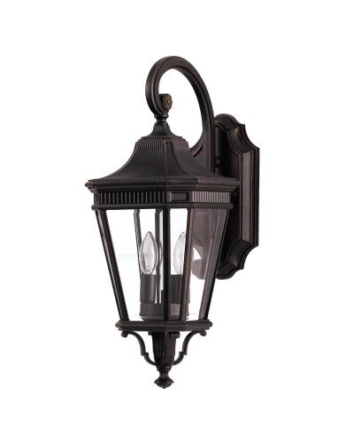 Feiss Cotswold Lane 2 Light Outdoor Medium Wall Lantern In Grecian Bronze Finish