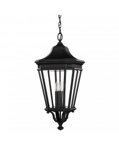 Feiss Cotswold Lane 3 Light Outdoor Large Chain Lantern In Black Finish