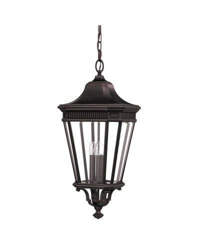 Feiss Cotswold Lane 3 Light Outdoor Large Chain Lantern In Grecian Bronze Finish