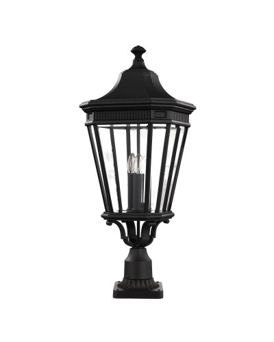 Feiss Cotswold Lane 3 Light Outdoor Large Pedestal In Black Finish