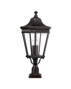 Feiss Cotswold Lane 3 Light Outdoor Large Pedestal In Grecian Bronze Finish