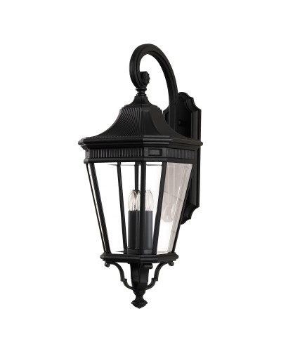 Feiss Cotswold Lane 3 Light Outdoor Large Wall Lantern In Black Finish