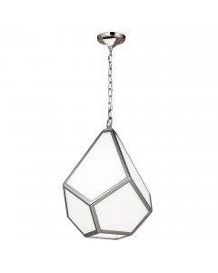 Feiss Diamond 1 Light Medium Pendant In Polished Nickel Finish