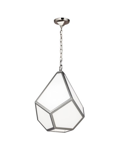 Feiss Diamond 1 Light Medium Pendant In Polished Nickel Finish