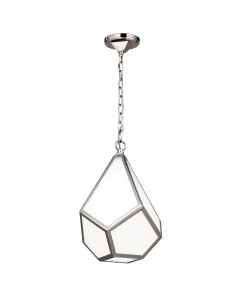 Feiss Diamond 1 Light Small Pendant In Polished Nickel Finish
