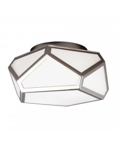 Feiss Diamond 2 Light Flush Ceiling Light In Polished Nickel Finish