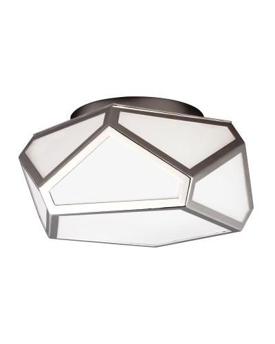 Feiss Diamond 2 Light Flush Ceiling Light In Polished Nickel Finish