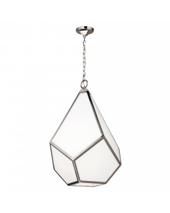 Feiss Diamond 4 Light Large Pendant In Polished Nickel Finish