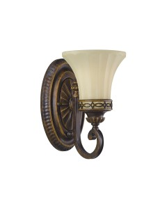 Feiss Drawing Room 1 Light Wall Light In Walnut Finish With Amber Scavo Glass Shade