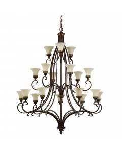Feiss Drawing Room 18 Light Chandelier In Walnut Finish With Amber Scavo Glass Shades