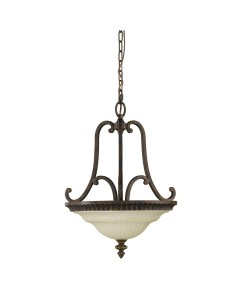 Feiss Drawing Room 2 Light Duo Mount Pendant / Semi Flush Ceiling Light In Walnut Finish With Amber Scavo Glass Bowl