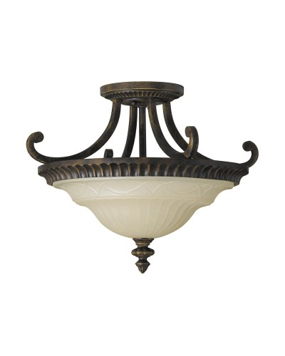 Feiss Drawing Room 2 Light Semi-Flush Ceiling Light In Walnut Finish With Amber Scavo Glass Bowl