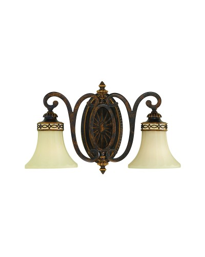 Feiss Drawing Room 2 Light Wall Light (Uplight OR Downlight) In Walnut Finish With Amber Scavo Glass Shades