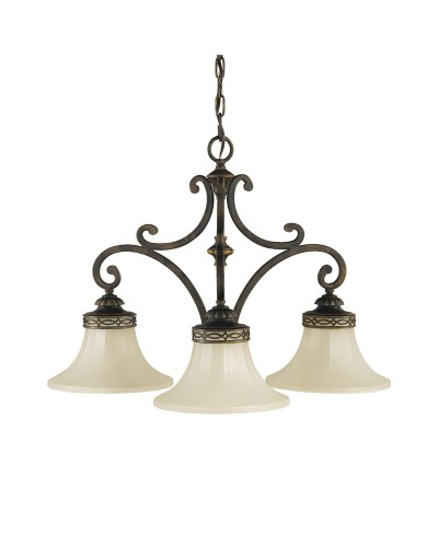 Feiss Drawing Room 3 Light Downlight Chandelier In Walnut Finish With Amber Scavo Glass Shades