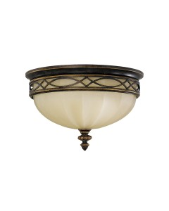 Feiss Drawing Room 3 Light Flush Ceiling Light In Walnut Finish