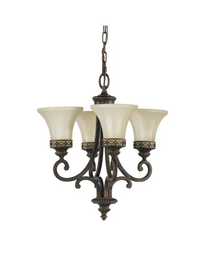 Feiss Drawing Room 4 Light Duo Mount Chandelier In Walnut Finish With Amber Scavo Glass Shades