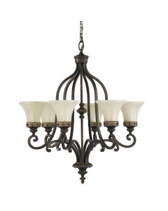 Feiss Drawing Room 6 Light Uplight Chandelier In Walnut Finish With Amber Scavo Glass Shades