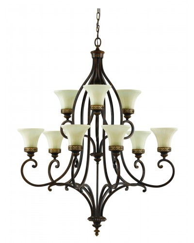 Feiss Drawing Room 9 Light Chandelier In Walnut Finish With Amber Scavo Glass Shades