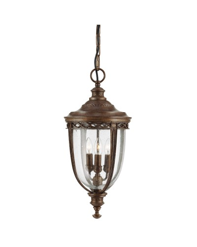 Feiss English Bridle 3 Light Outdoor Large Chain Lantern In British Bronze Finish