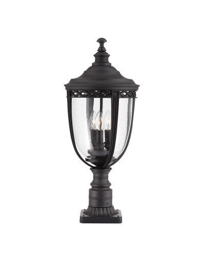 Feiss English Bridle 3 Light Outdoor Large Pedestal In Black Finish