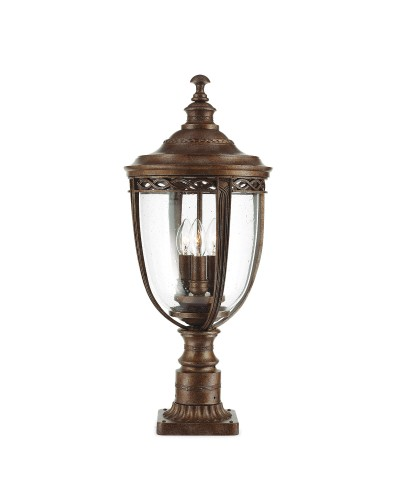 Feiss English Bridle 3 Light Outdoor Large Pedestal In British Bronze Finish