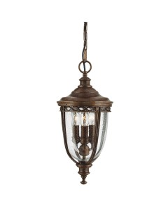 Feiss English Bridle 3 Light Outdoor Medium Chain Lantern In British Bronze Finish