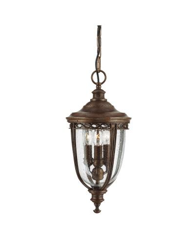 Feiss English Bridle 3 Light Outdoor Medium Chain Lantern In British Bronze Finish