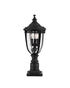 Feiss English Bridle 3 Light Outdoor Medium Pedestal In Black Finish