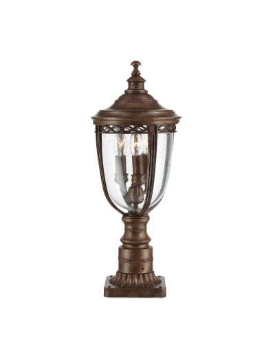 Feiss English Bridle 3 Light Outdoor Medium Pedestal In British Bronze Finish