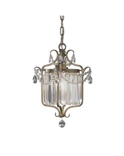 Feiss Gianna 1 Light Duo Mount Crystal Pendant In Gilded Silver Finish